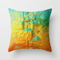 golden Throw Pillows featuring Golden by SensualPatterns