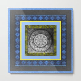 Time Travel Mind Meditation Sacred Geometry Mandala Portrait Metal Print