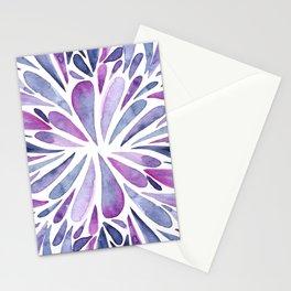 Symmetrical drops - purple and indigo Stationery Cards