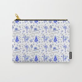 South Carolina Christmas Toile Blue-White pattern Carry-All Pouch