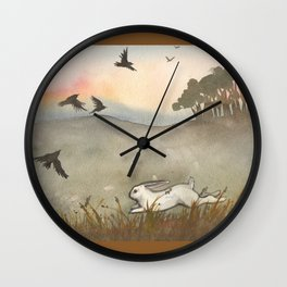 Little White Rabbit and the Blackbirds Wall Clock