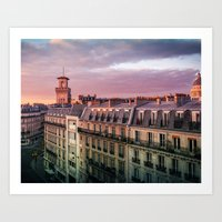 "Paris Urban Photography, ""Paris Sunset"" Large Art Print, Travel Wall Art, Living Room Fine Art Photo Art Print"