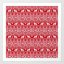 Bernese Mountain Dog fair isle christmas red and white pattern holiday dog breed gifts Art Print
