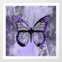 Abstract Butterfly Art Ultraviolett Colors Art Print
