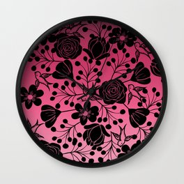 Simple Black Floral and Swallow Print Pink Ombre Wall Clock
