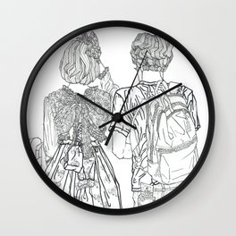 Geometric Japanese Black and White Linework Love couple Wall Clock