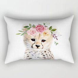 Baby Cheetah with Flower Crown Rectangular Pillow