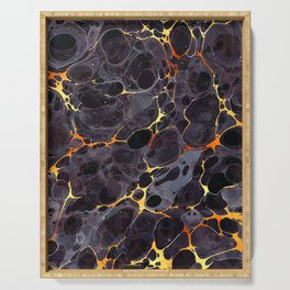 Abstract Painting - Marbling Art 05- Fluid Painting - Black, Gold Abstract - Modern Abstract Serving Tray