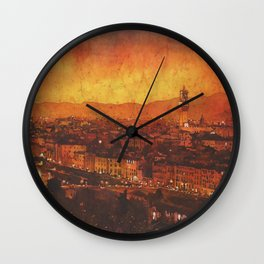 Palazzo and Ponte Vecchio in Florence, Italy at sunset.  Watercolor batik painting. Wall Clock