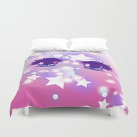 pastel goth Duvet Covers featuring Fairy Kei Pastel Goth Dreamy Shoujo Manga Eyes by KawaiiMachine