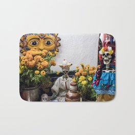 Day of the Dead Altar with Skeleton Couple & Tarot Cards Bath Mat