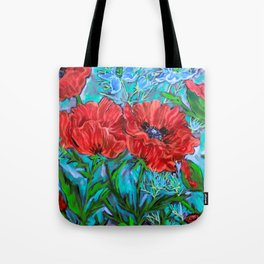 Poppies in the Garden Tote Bag