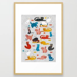 Playful Cats - illustration Framed Art Print