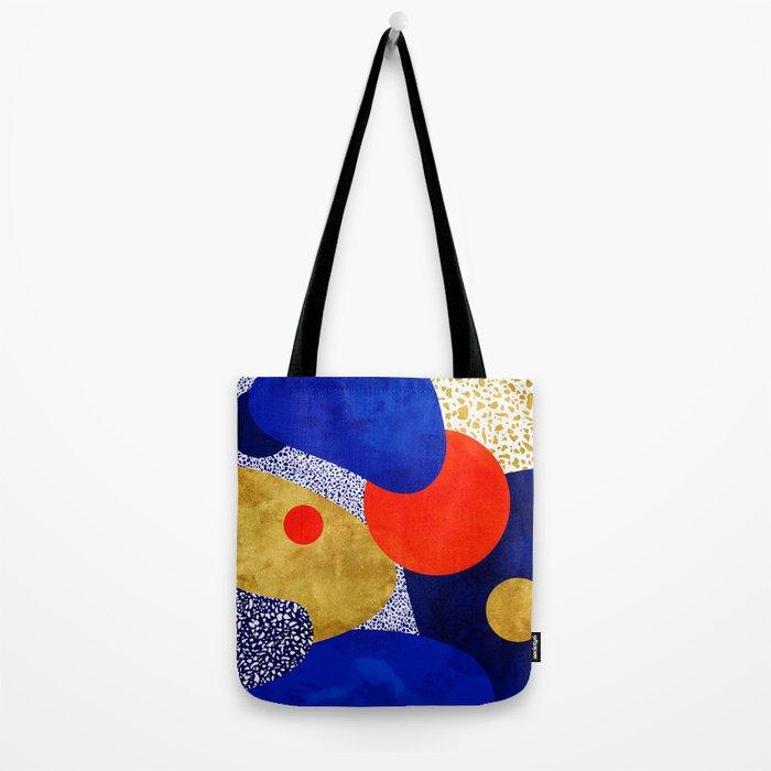 Terrazzo galaxy blue night yellow gold orange Tote Bag