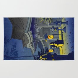 Japanese Woodblock Print Vintage Asian Art Colorful Woodblock Prints Shrine At Night Lantern Rug