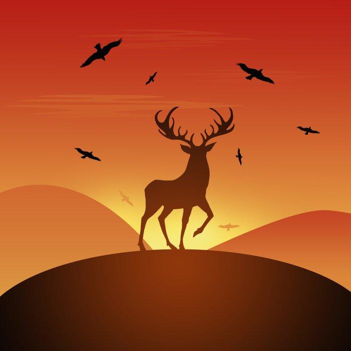 Deer at sunset Duvet Cover