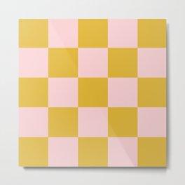 Classic Checkerboard Yellow Peach Lavellan Metal Print