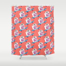 Let's Roll! / Living Coral Shower Curtain