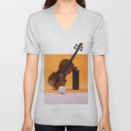 Still-life with a violin, a ball and a dark bottle Unisex V-Neck