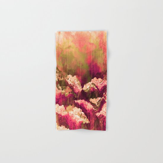 IT'S A ROSE COLORED LIFE 2 - Colorful Floral Garden Chic Abstract Pink White Olive Green Painting Hand & Bath Towel
