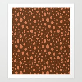 Painterly Dots in Brown + Terracotta Art Print