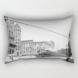 Empire State Express (New York Central Railroad) coming thru Washington Street, Syracuse, N.Y. Rectangular Pillow