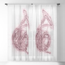 French horn sketch Sheer Curtain