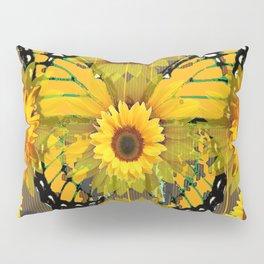 SUNFLOWER BOTANICALS YELLOW MONARCH BUTTERFLY Pillow Sham