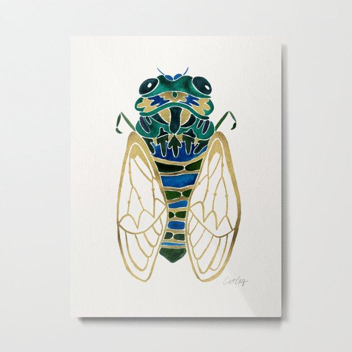 Green & Gold Cicada Metal Print