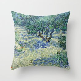 Olive Orchard by Vincent van Gogh Throw Pillow