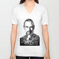 steve jobs V-neck T-shirts featuring Steve Jobs Doodle by Rebecca Bear