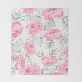 Watercolor Peonie with greenery Throw Blanket