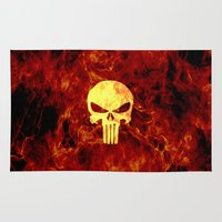 punisher Area & Throw Rugs featuring PUNISHER SKULL FLAME by alexa