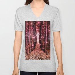Magical Forest Vibrant Pink Living Coral Unisex V-Neck
