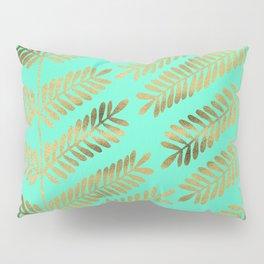 Leaflets – Turquoise & Gold Pillow Sham