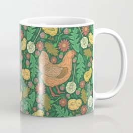Orange hen with yellow chickens and dandelions on green background Coffee Mug