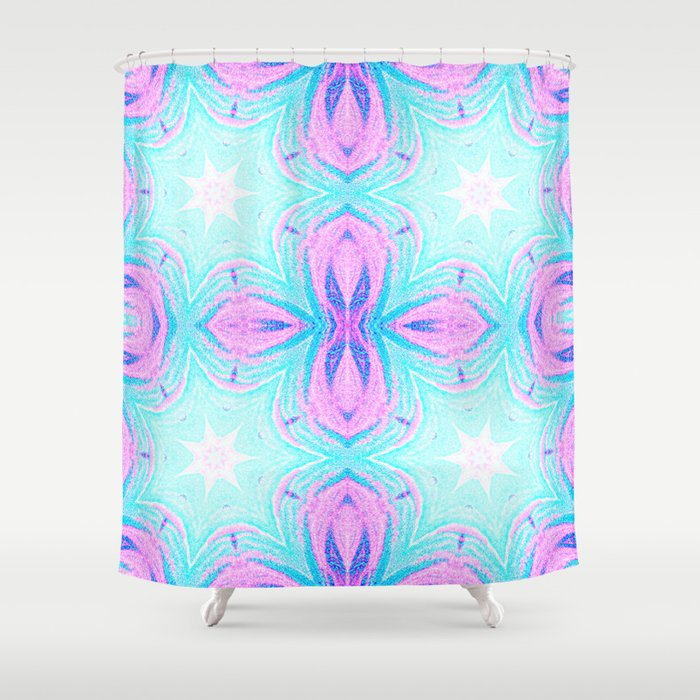 Pink & Blue Star Explosion Pastel Pattern Shower Curtain
