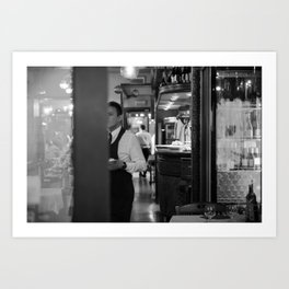 A bar in Venice, black and white street photography, prints for wall art, cafe, home decor, and acce Art Print