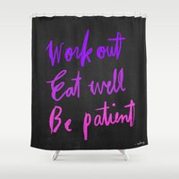 workout Shower Curtains featuring Neon workout quote by nneko