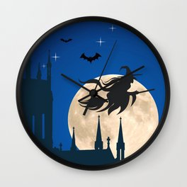 Halloween Witch Flying On Broomstick By Full Moon Silhouette Ultra HD Wall Clock