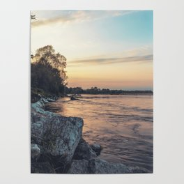 Sunset on the banks of the Ticino river Poster