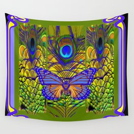 BLUE-PURPLE BUTTERFLY PEACOCK FEATHER PATTERNS Wall Tapestry