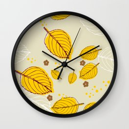 Yellow leaves from nonas garden Wall Clock