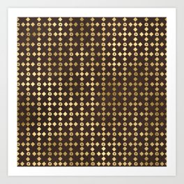 Chic Brown and Gold Aztec Circles and Diamonds Art Print