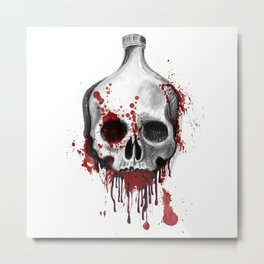 Alcohol bottle in death skull. Metal Print