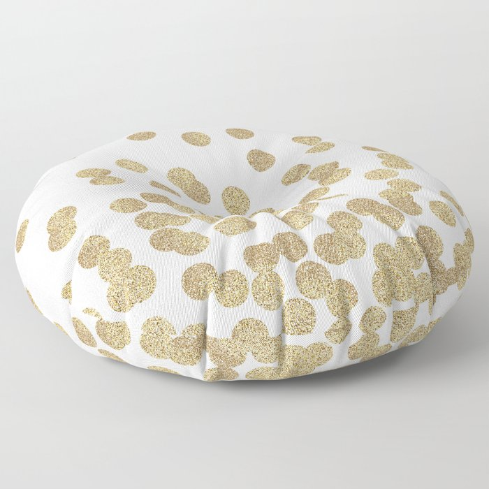 Gold Glitter Dots in scattered pattern Floor Pillow