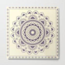 Boho Indian medallion Cream Metal Print