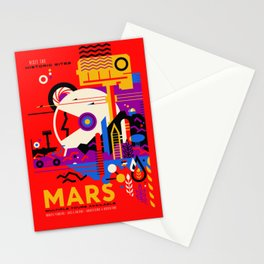 NASA Mars The Red Planet Retro Poster Futuristic Best Quality Stationery Cards