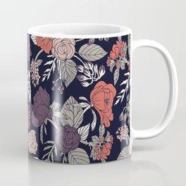 Purple, Gray, Navy Blue & Coral Floral/Botanical Pattern Coffee Mug