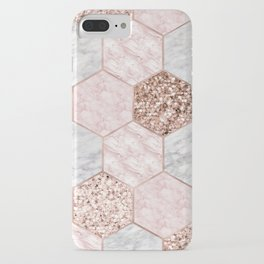 Rose gold dreaming - marble hexagons iPhone Case